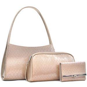 Handbags - Classic Snake Skin Shoulder Bag Matching Wallet